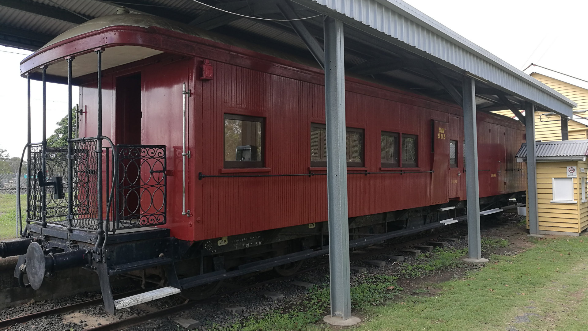 Train carriage at the Bundaberg Railway Museum, located at the original train station for Bundaberg, with a collection of railway memorabilia and a variety of carriages