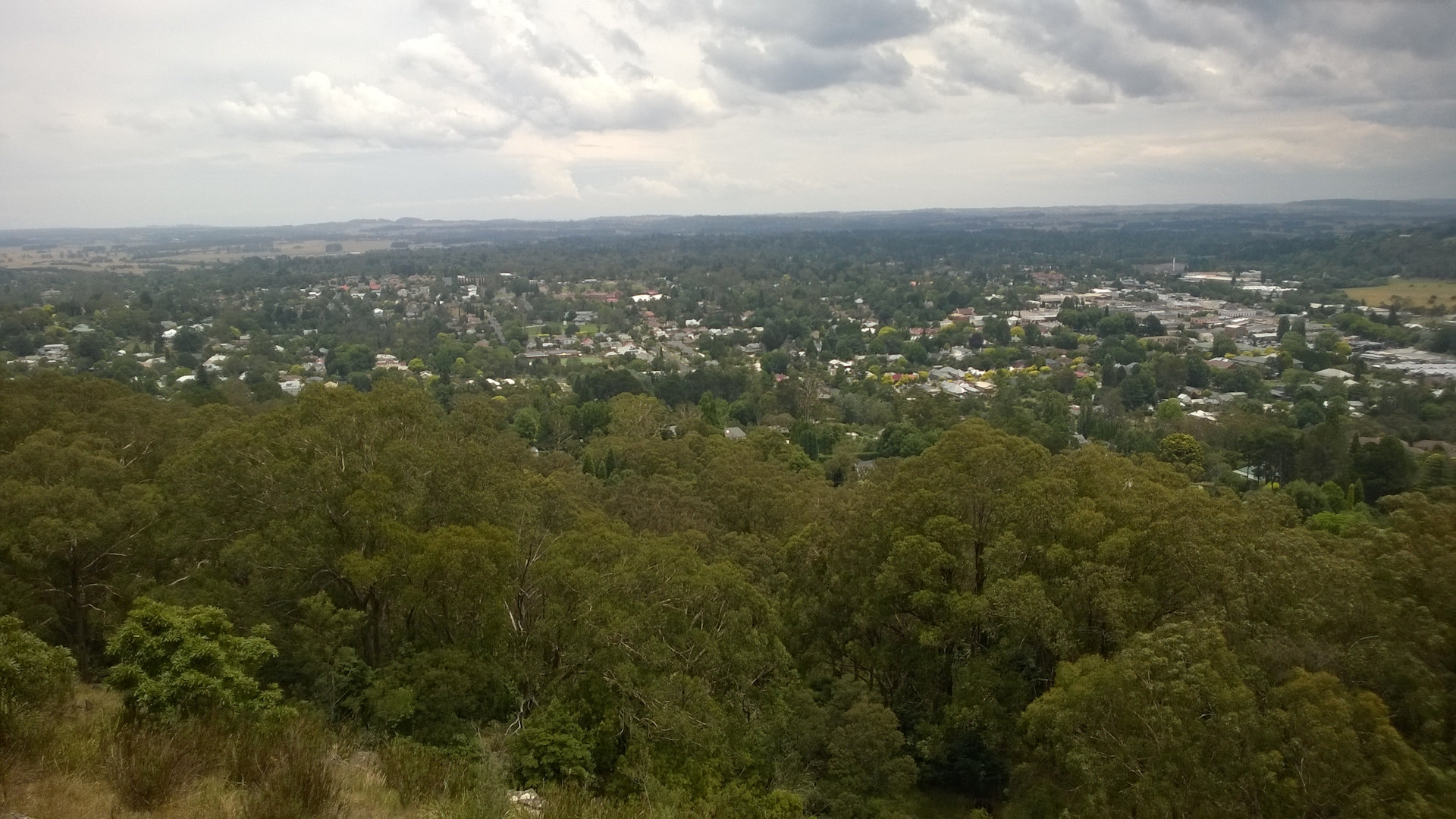 Bowral Lookout from the Mt Gibraltar Lookouts, a set of lookouts from a large rock outcrop, the remnant of a volcanic intrusion that sits between Bowral and Mittagong