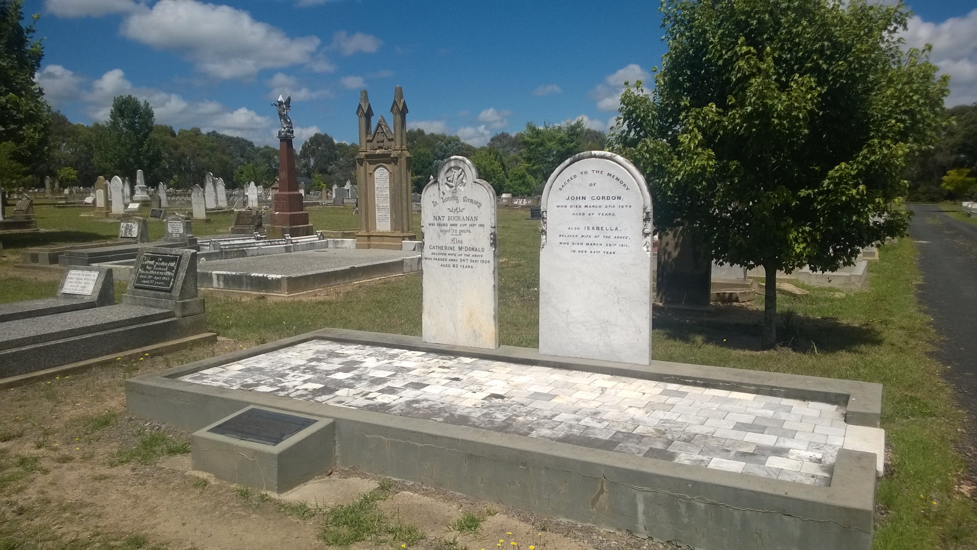 Nat Bachanan's Grave is in Walcha NSW, he was a pastoralist, explorer, and pioneer in Australia