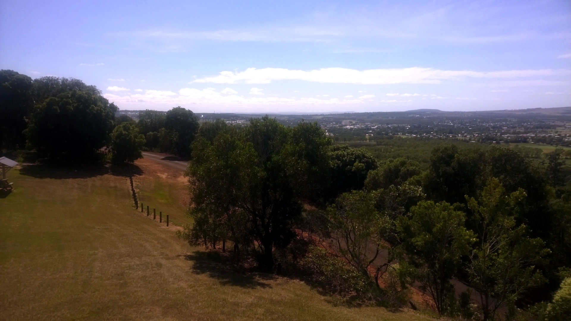 View from Mount Wooroolin Lookout looking towards Kingaroy. The lookout is just over 4km west of Kingaroy, park at the lookout or walk the trail from below the mountain to the top