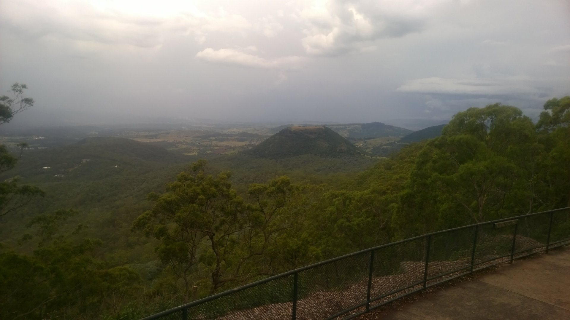 Lookout from Picnic Point in Toowoomba with views off the Great Dividing Range towards Tabletop Mountain and the Lockyer Valley, Picnic Point has gardens, picnic areas, playground, waterfall, and walks