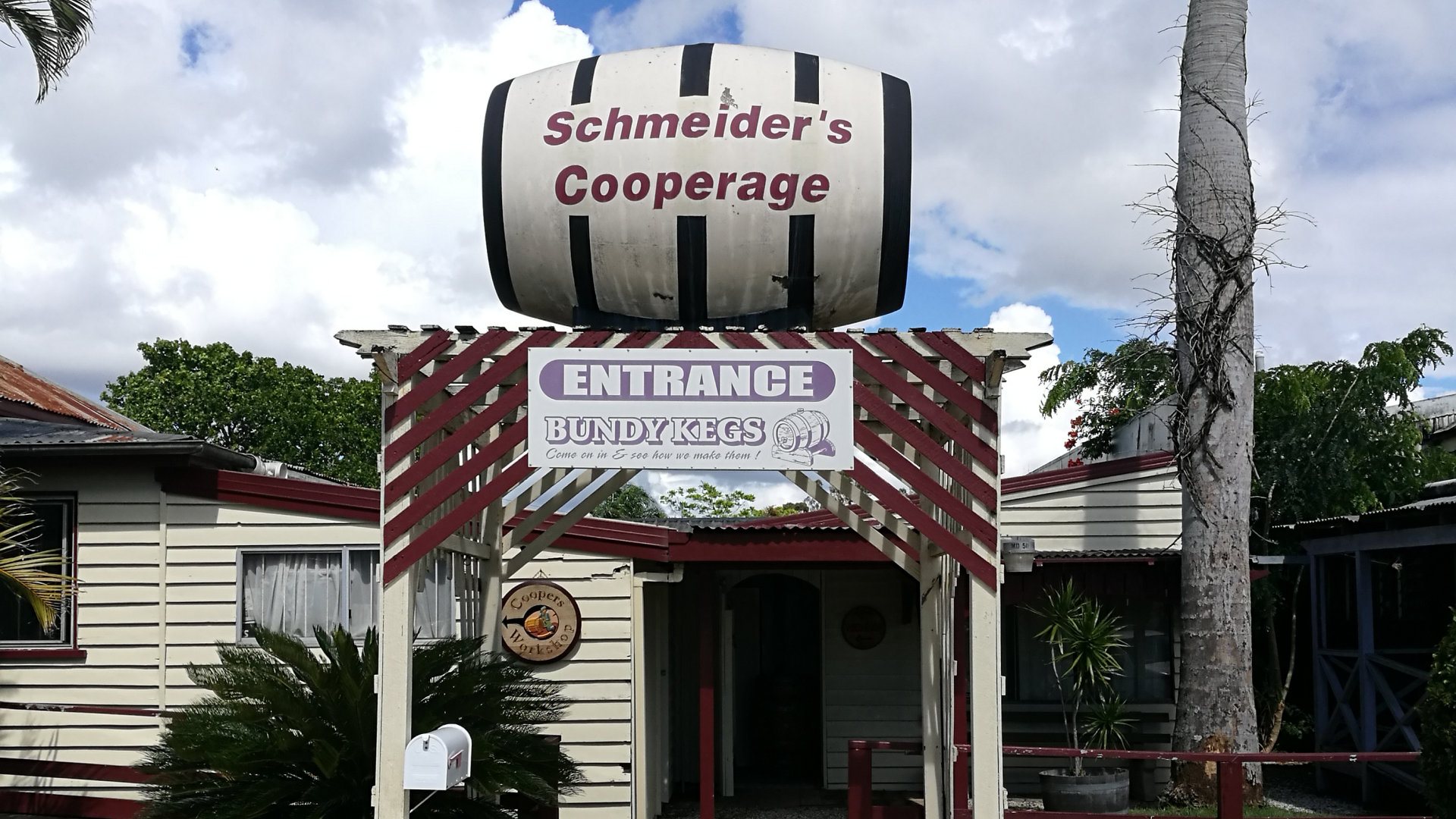 Front of Schmeider's Cooperage in Bundaberg where you can learn about the process of making kegs, not far from the Bundaberg Rum Distillery