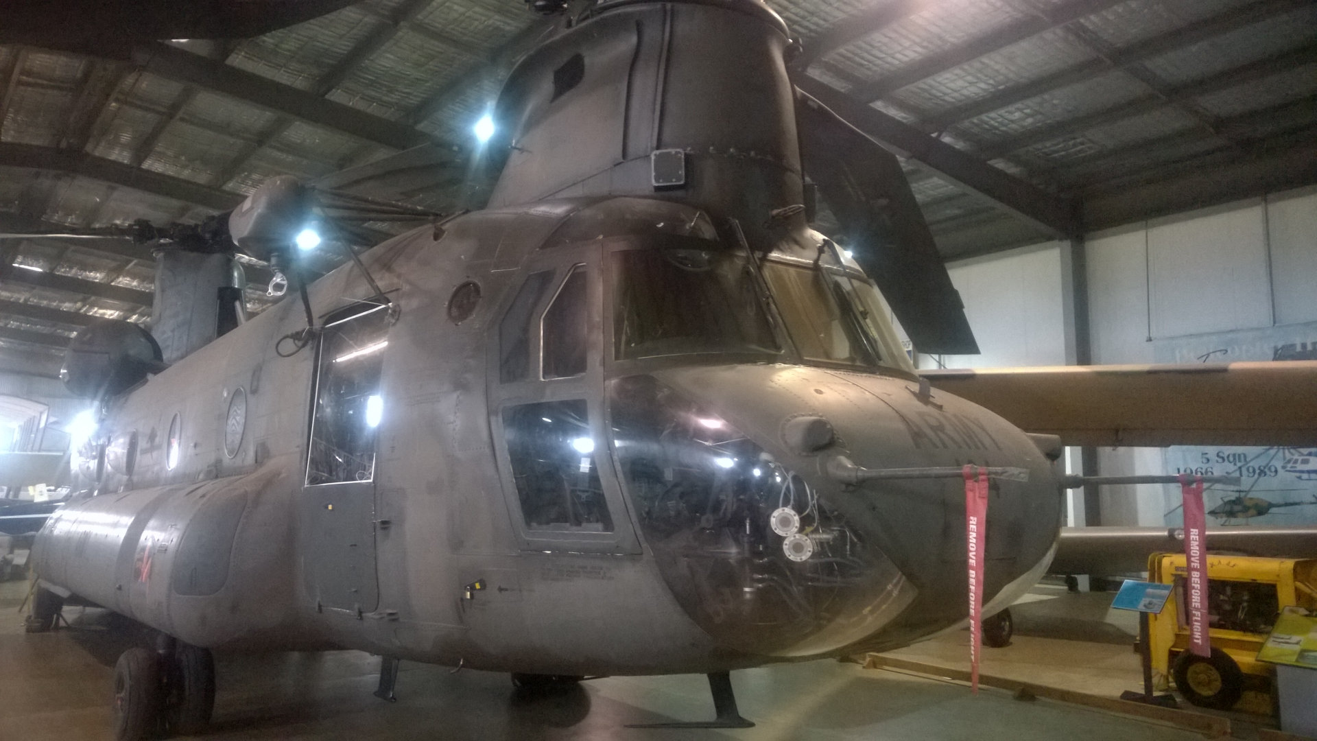 Boeing CH-47D Chinook helicopter located in the Australian Army Flying Museum near Oakey, displays include a variety of aircraft and army artefacts and memorabilia