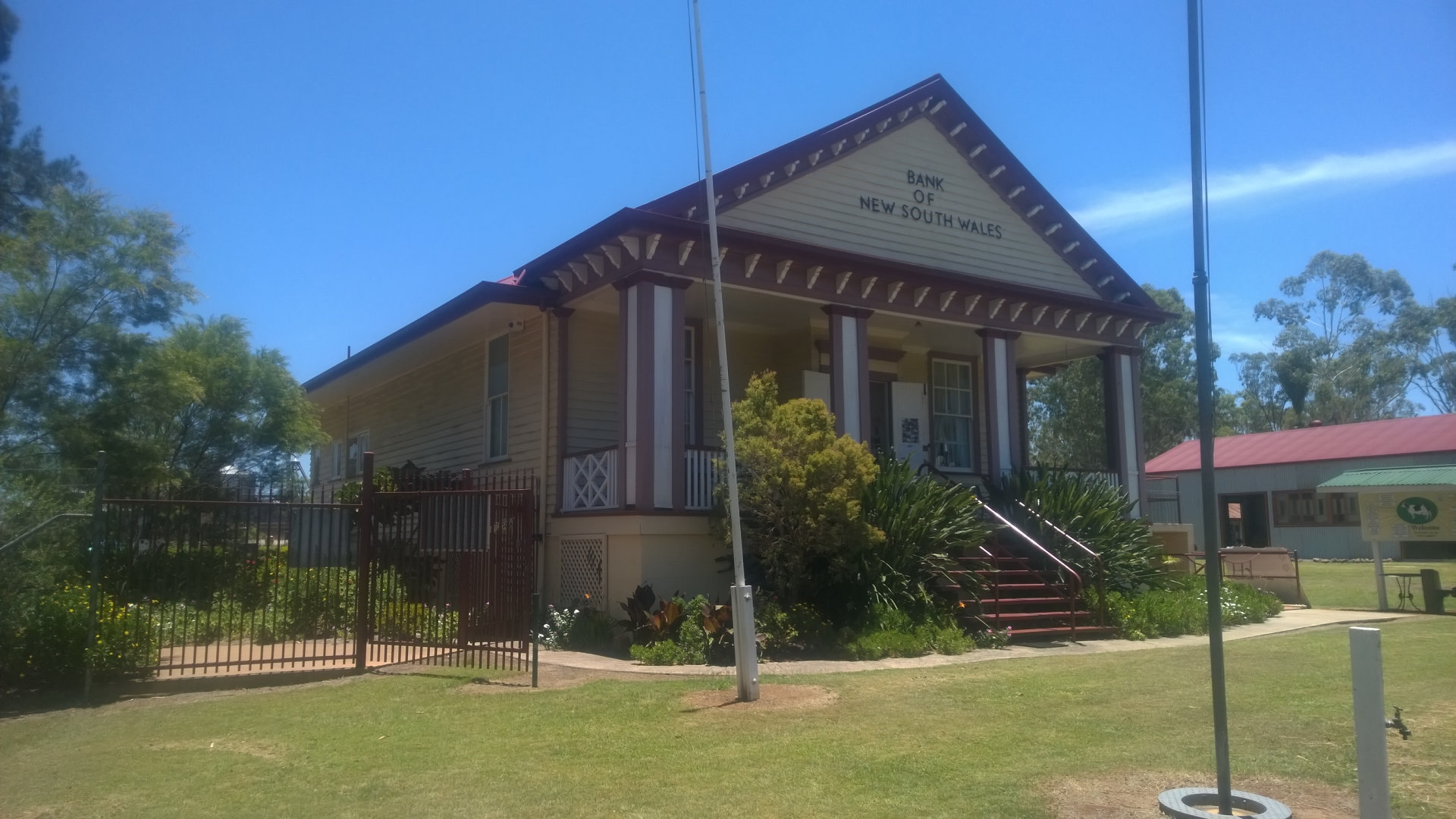 Bank of New South Wales building at The Queensland Dairy & Heritage Museum in Murgon. It has displays on the dairy industry, including memorabilia of the dairy industry, and heritage displays from the local area
