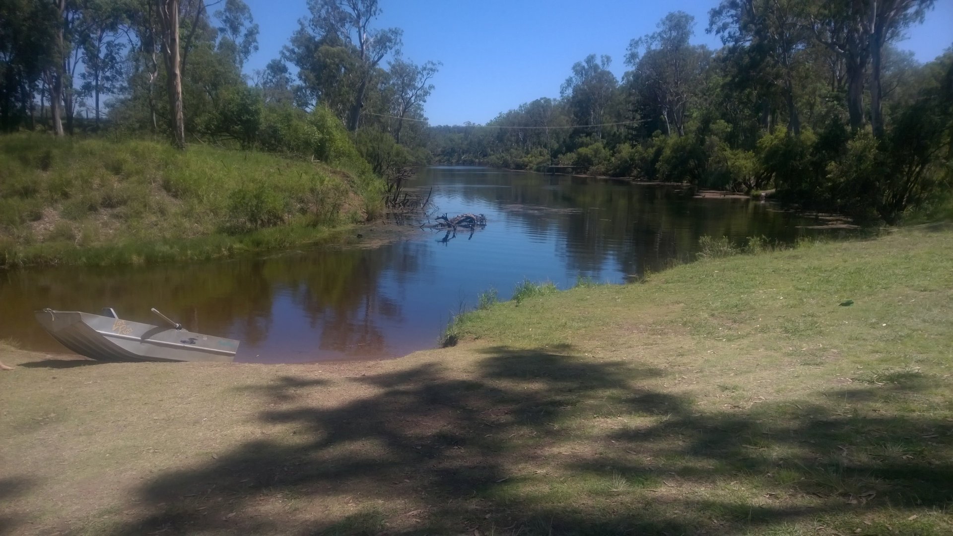 On the banks of Barambah Creek at Fick's Crossing looking up the creek. Fick's Crossing is a nice spot to stop for a break or stay for a while