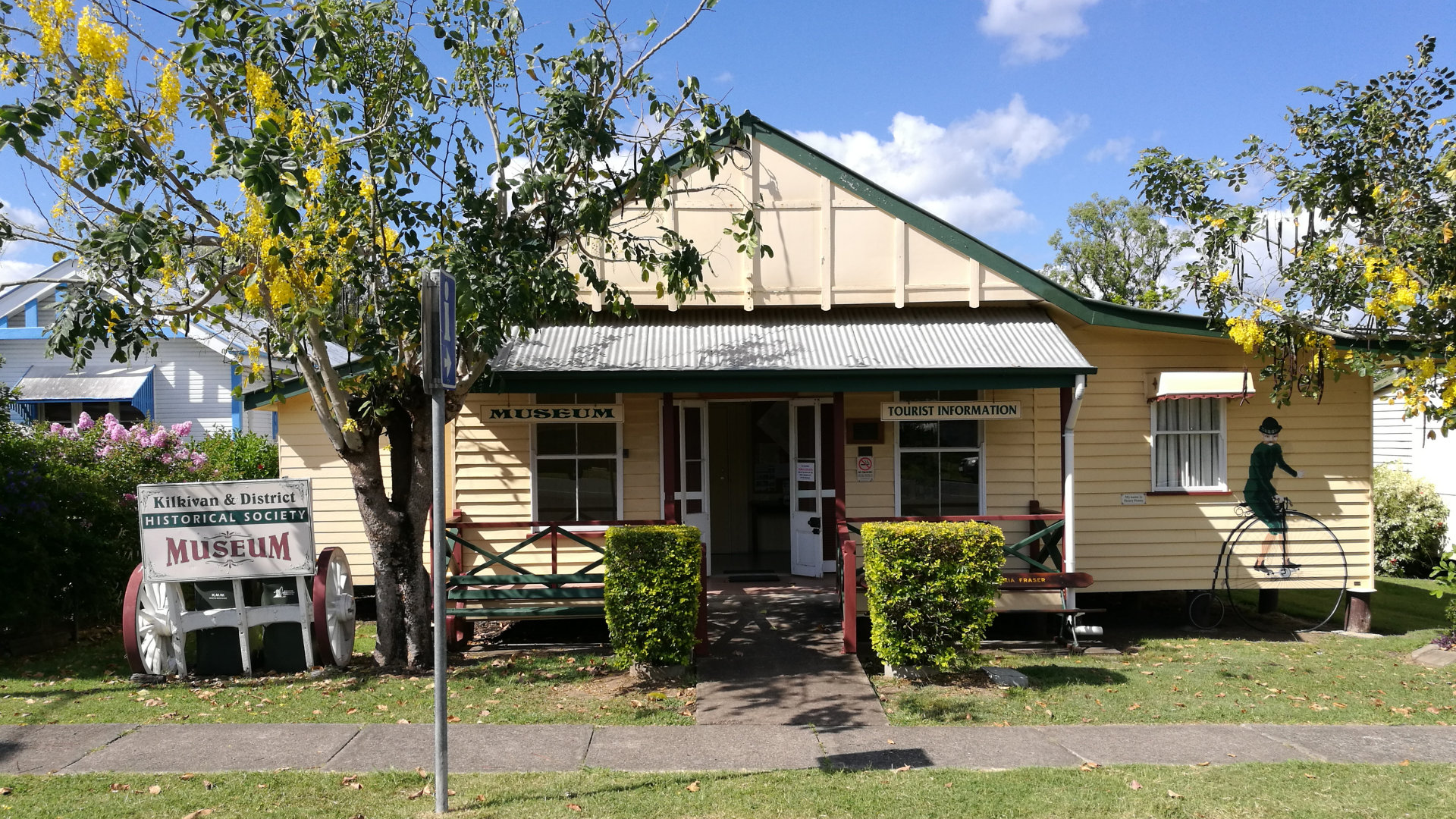 Front of the Kilkivan Museum from the street. The museum contains a display of ore and mineral samples common to the district, other mining related exhibits and artefacts, and historical room displays