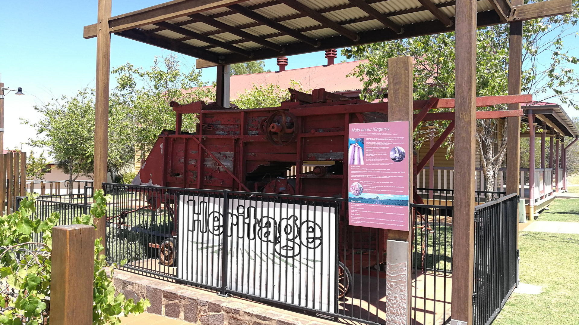 Peanut thresher outside at the back entry of The Kingaroy Heritage Museum. The museum is adjoined to the Kingaroy Information Centre, with machinery from the peanut industry, and other heritage items from the area