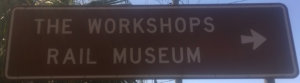 Brown sign for The Workshops Rail Museum