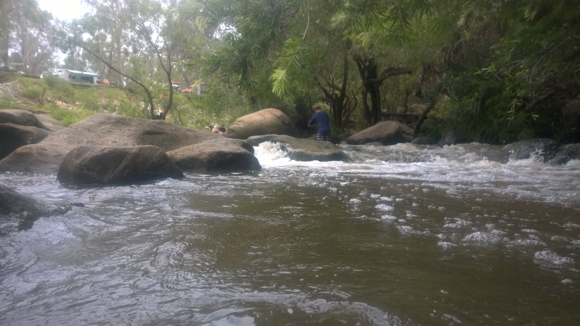 Creek swimming at Flanagan Reserve, a camping ground in the Scenic Rim overlooked by Mt Maroon, with fresh water Logan River running along the length of it