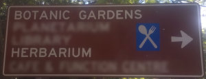 Brown sign for Herbarium at the Botanic Gardens in Brisbane