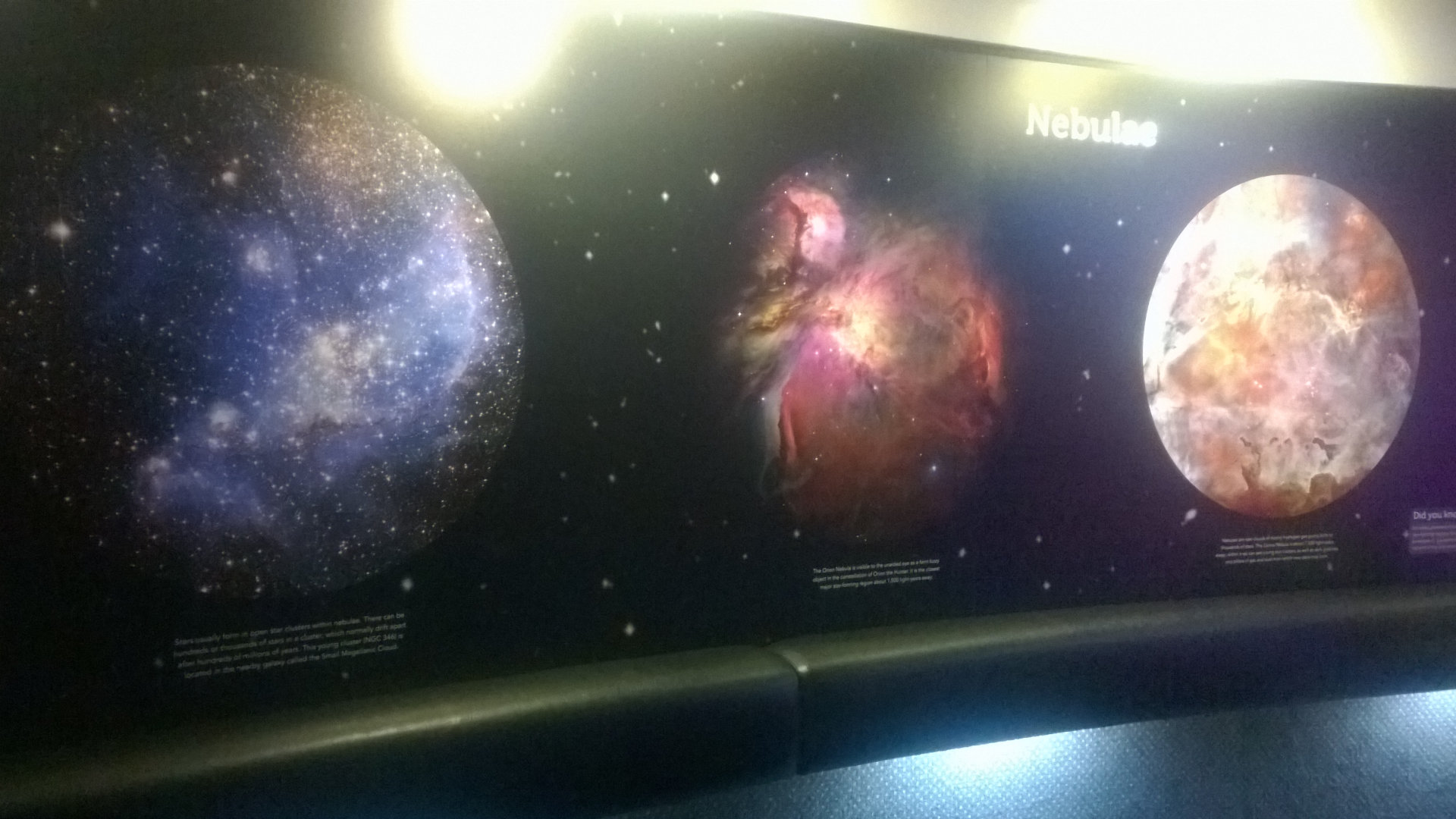 Space information on the walls inside The Sir Thomas Brisbane Planetarium, located at the Mt Coot-tha Botanic Gardens, with anobservatory anda 12.5 metre diameter projection dome
