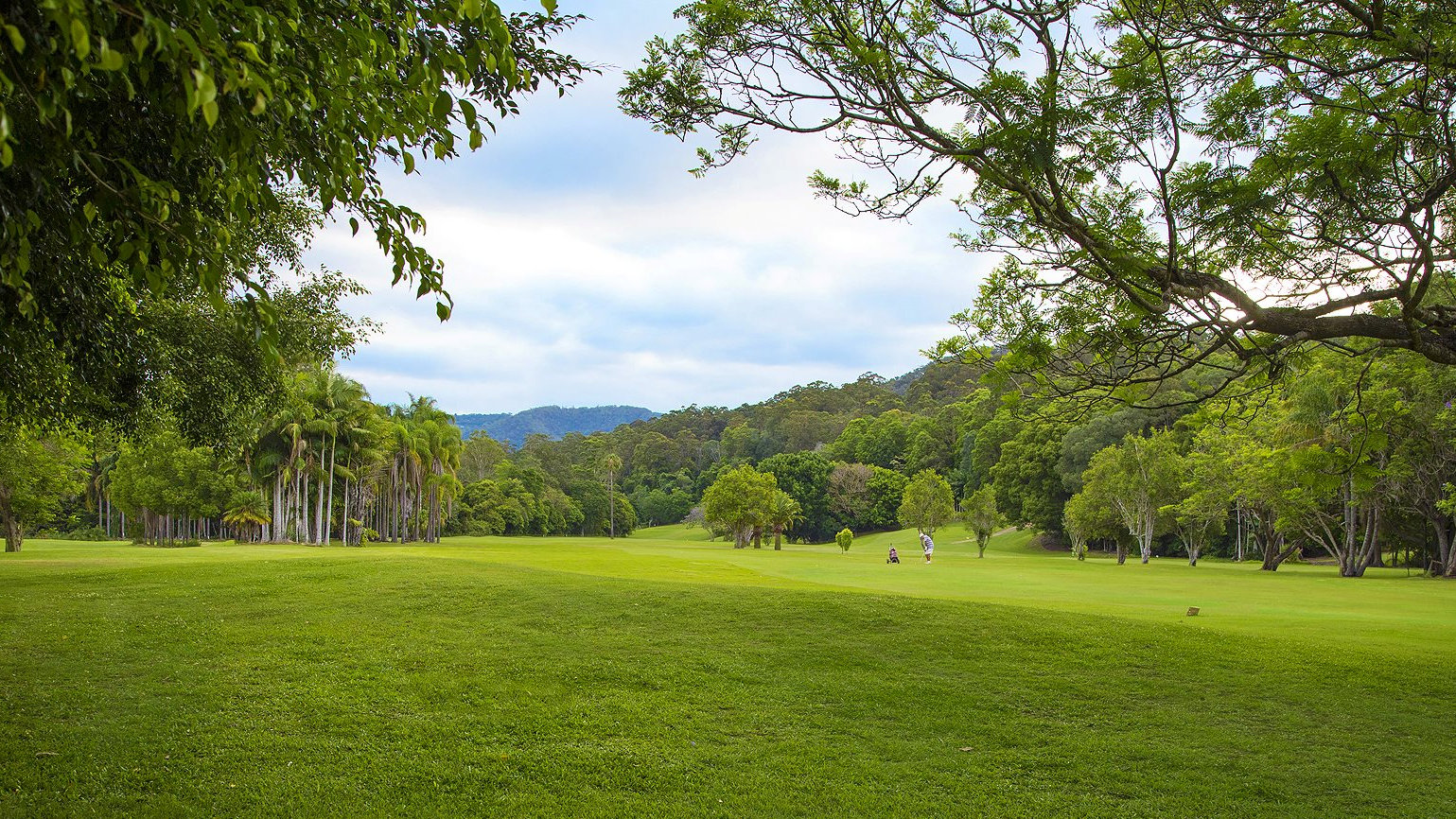Golf fairway at The Boomerang Farm in Mudgeeraba near the Gold Coast. Originally a dairy farm, it is now a 9 hole golf course, mountain bike park, and events venue including for weddings