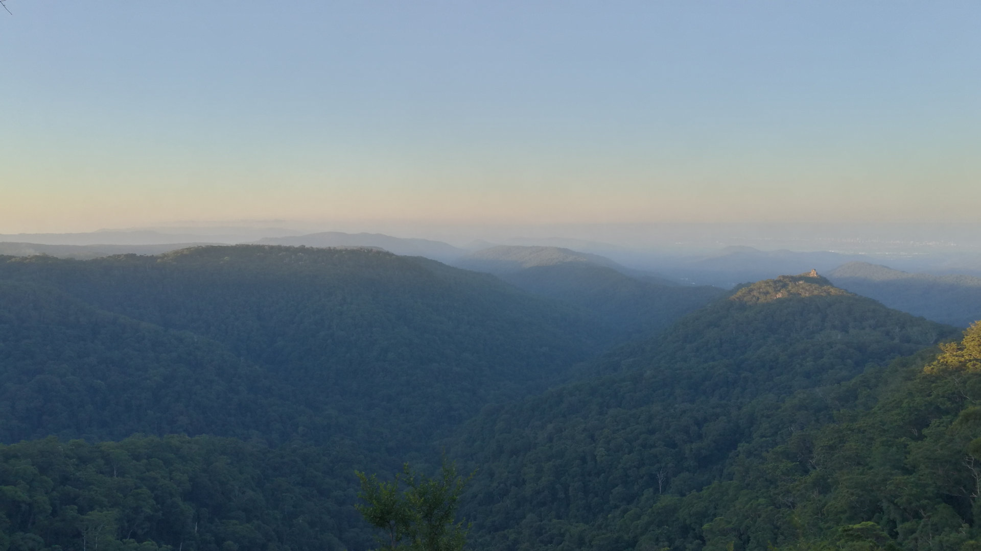 View from lookout at Goomoolahra Picnic Area at Springbrook with the Pinnacle and hazy horizon of the Gold Coast. Goomoolahra Picnic Area is beside the Mundora Creek flowing over the Goomoolahra Falls. On clear days the lookouts view through to Stradbroke Island and Moreton Island