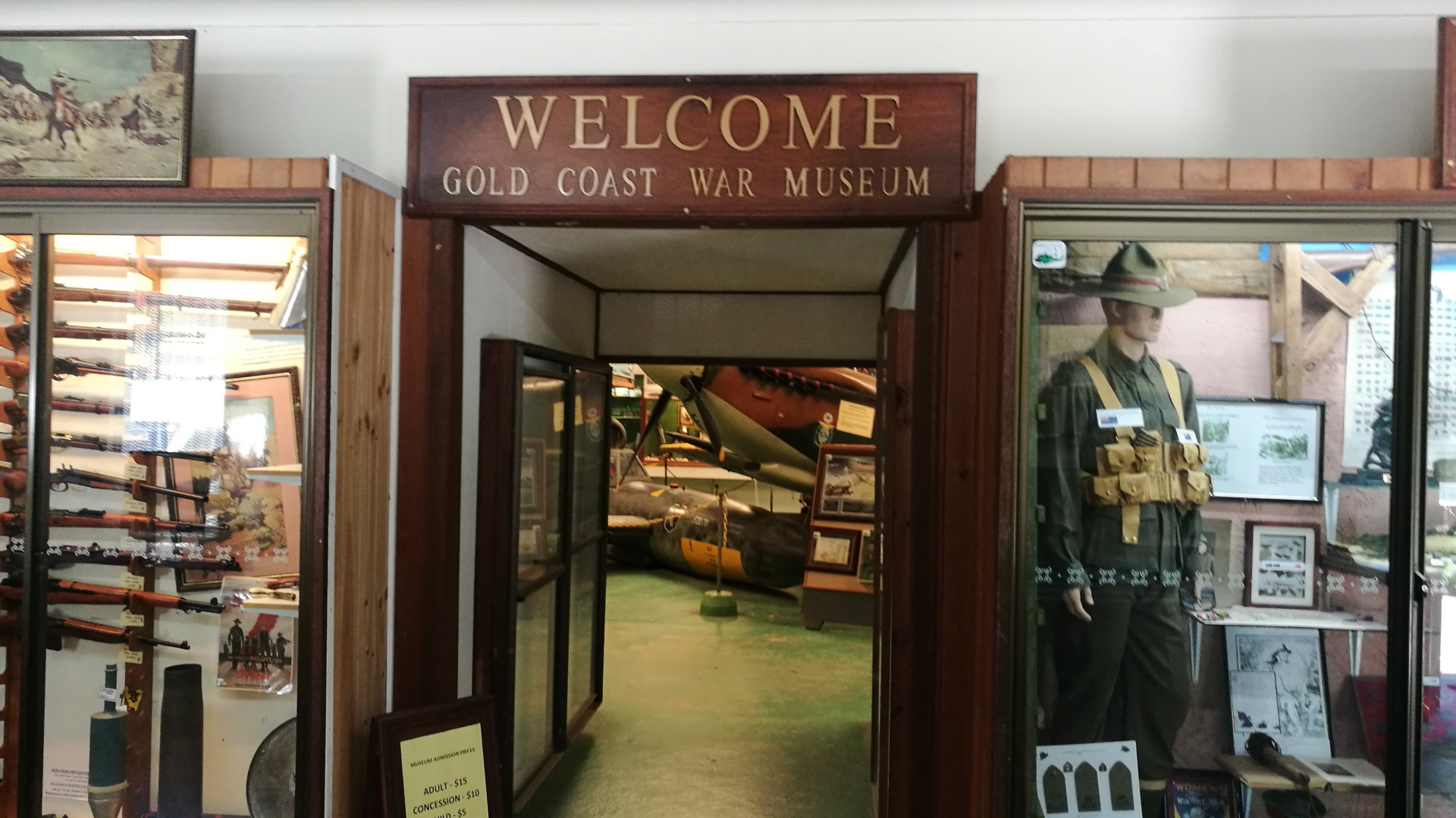 Entrance to the Gold Coast War Museum at Mudgeeraba. The museum has a large collection of military equipment and artefacts, ranging from small memorabilia through to aircraft and tanks