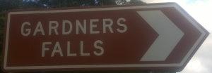 Brown sign for Gardners Falls