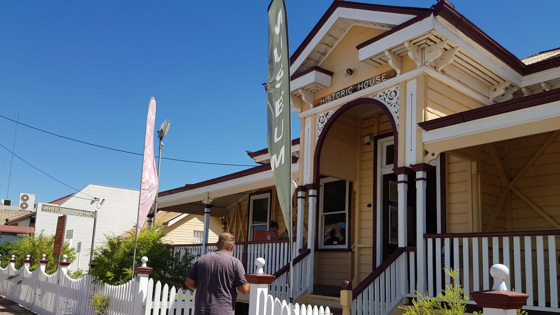 Front of the Historic House in Charleville, it was the chambers and manager's residence of the Queensland National Bank, built in 1889. Today it is a museum, showcasing a collection of items relating to the original period, both inside the house and outside.