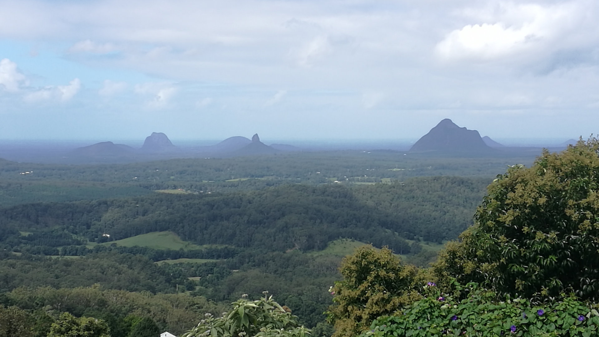 View from McCarthy's Lookout in Maleny, looking east off the Blackall Range towards the coast and the gorgeous Glasshouse Mountains