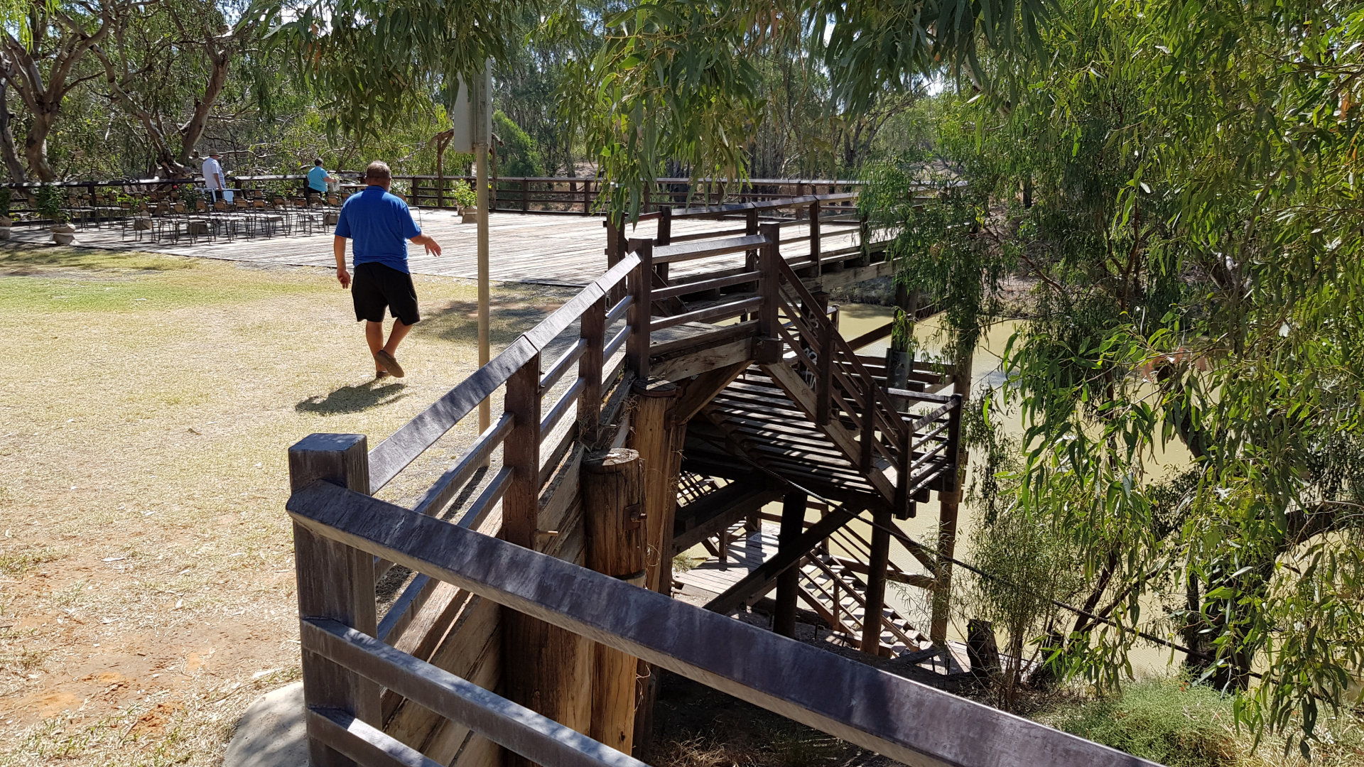 Top of The Bourke Wharf, a replica of the original wharves in Bourke. In the late 1850s, the Darling River was opened up as a key transport route, and river communities like Bourke grew as important transport centres.