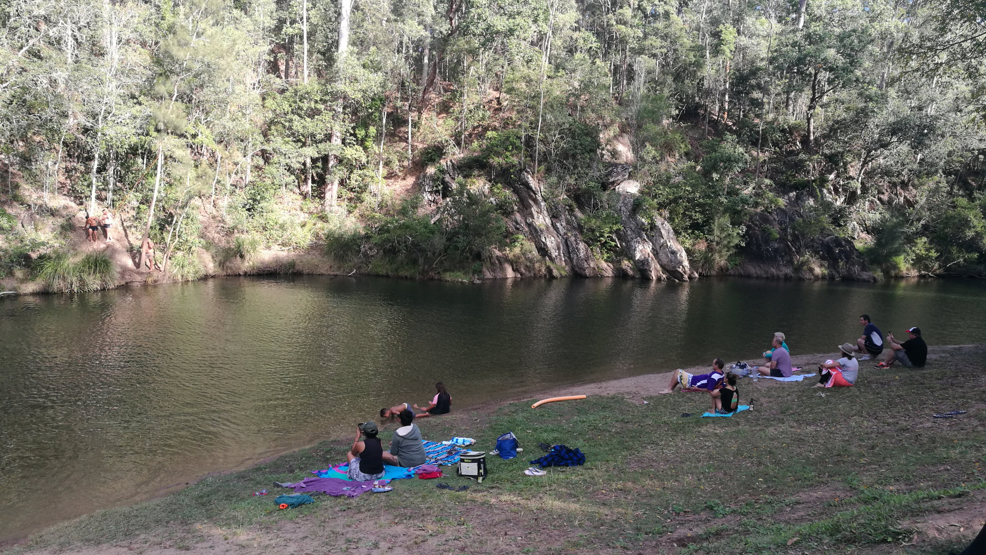 Swimming hole in Little Yabba Creek at Charlie Moreland, a campground in the Imbil State Forest south of Kenilworth. Charlie Moreland has a day use area with picnic tables and BBQs, and a camping