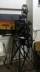 Hand operated film projector at Kenilworth Historical Museum