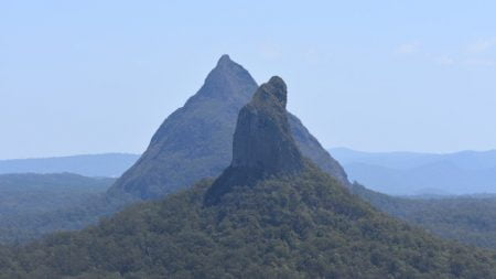 Mt Coonwrin in line with Mt Beerwah as seen from the summit of Mt Ngungun