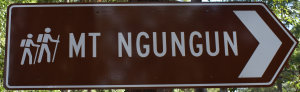 Brown sign for Mt Ngungun, with hiking symbol