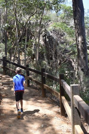 Walking trail at Mount Ngungun with railings
