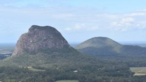 View from the summit of Mt Ngungun looking towards Mt Tibrogargan and Mt Beerburrum