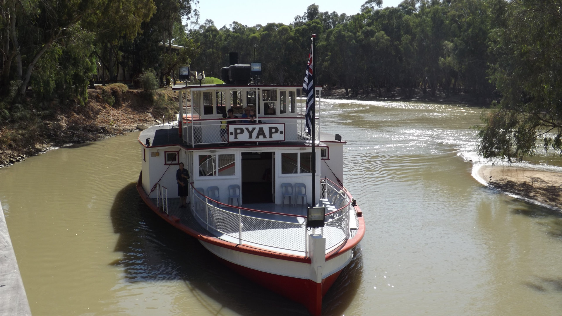 PYAP paddle steamer on the Little Murray River. The brown sign to river cruises in Swan Hill is operated at the Pioneer Settlement open air museum, on the paddlesteamer PS Pyap. The cruise goes along the Little Murray River passed the Swan Hill Caravan Park to join the Murray River, then towards the Murray Downs Marina, and passed the Murray Downs Homestead
