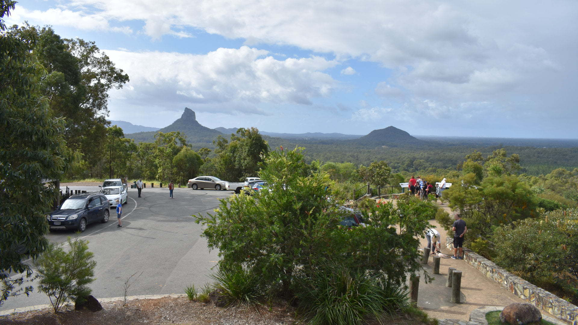 View from the rotunda at The Glass House Mountains Lookout, centrally located amongst the Glass House Mountains, offers views of many of the peaks from the one location.