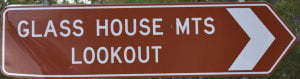 Brown sign for Glass House Mts Lookout