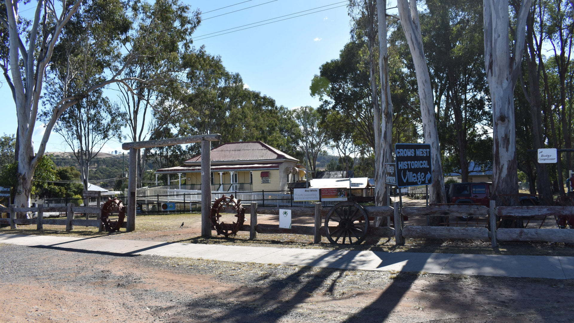 Front of the Crows Nest Historical Village. The village has over 20 buildings, including Carbethon House homestead, Ray White Auctioneer building, and lots of local historical memorabilia