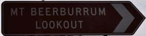 Brown sign for Mt Beerburrum Lookout