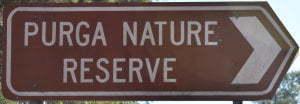 Brown sign for Purga Nature Reserve