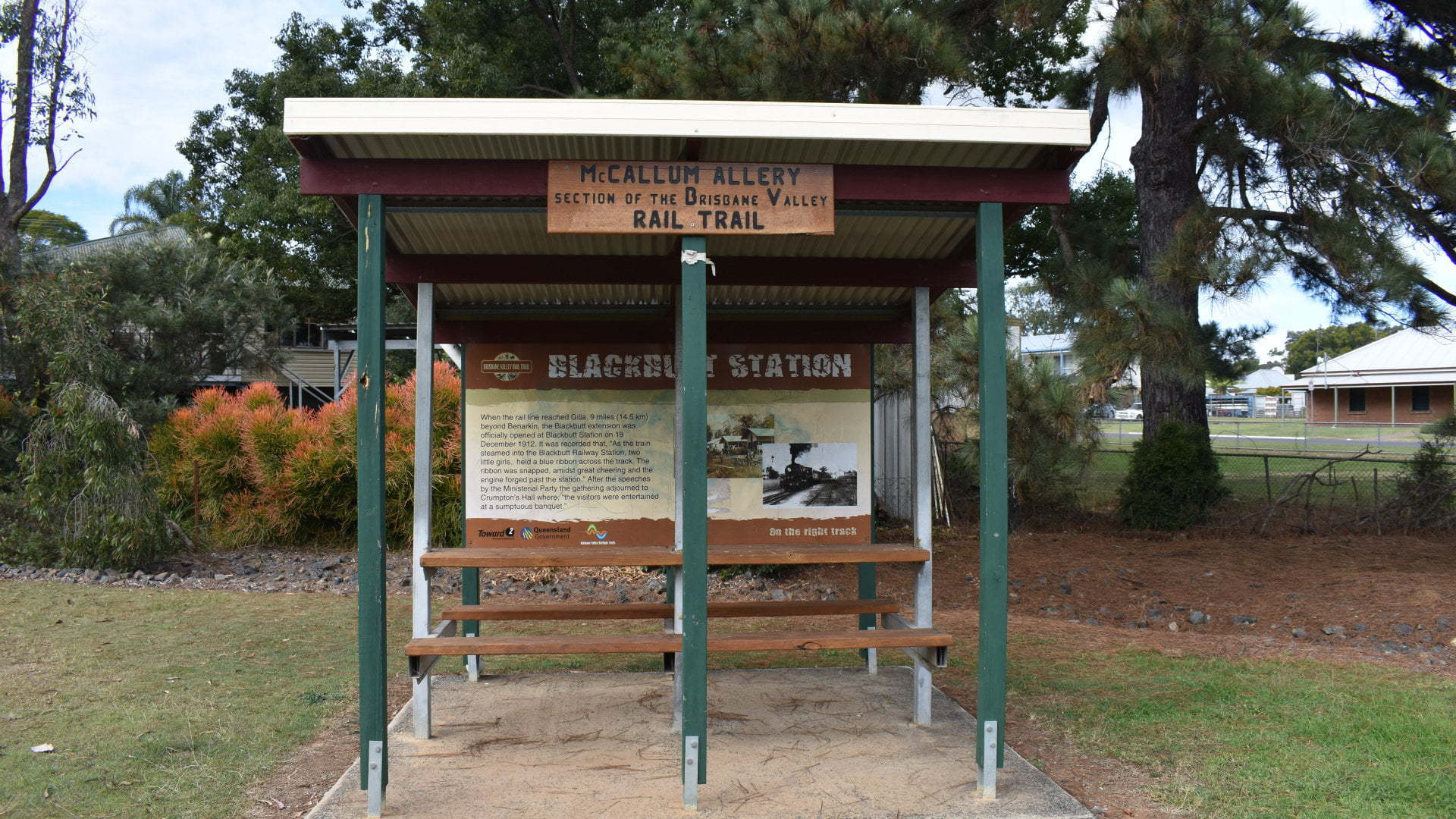 Picnic table shelter for the Rail Trail in Blackbutt, along the Brisbane Valley Rail Trail. The rail trail is a shared-use path (walking, biking, and horse riding) on an abandoned railway corridor from Ipswich to Yarraman.