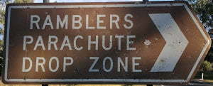 Brown sign for Ramblers Parachute Drop Zone