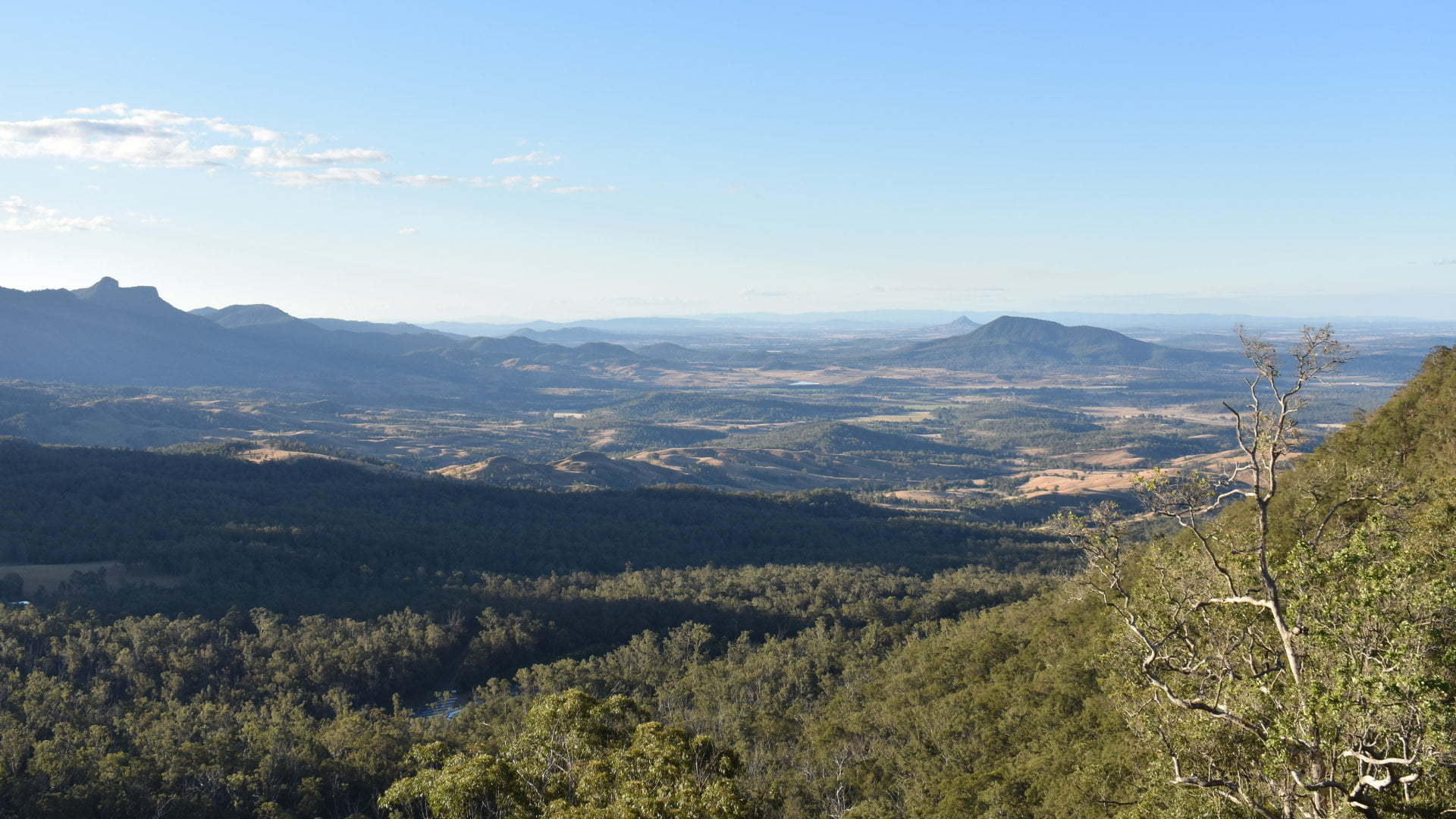 View from a lookout spot along the Mount Mathieson Trail at Spicers Gap in the Main Range National Park