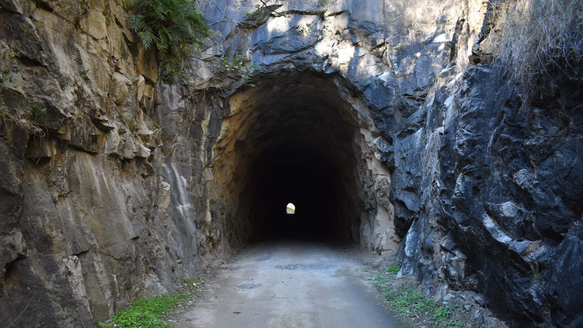 Entrance of a disused railway line tunnel, Boolboonda Tunnel is part of the Bundaberg to Mount Perry line