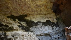 Back wall of a cave with a dark shape of a dragon, at the Dragon Cave at Cania Gorge