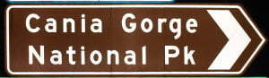 Brown sign for Cania Gorge National Pk