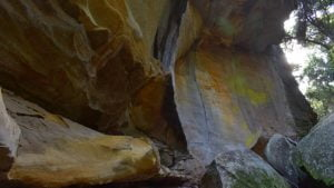 Rock overhang with vibrant yellow and orange colours coming out of the rock surface, at the far end of the creek at The Overhang at Cania Gorge
