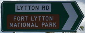Brown sign for Fort Lytton National Park