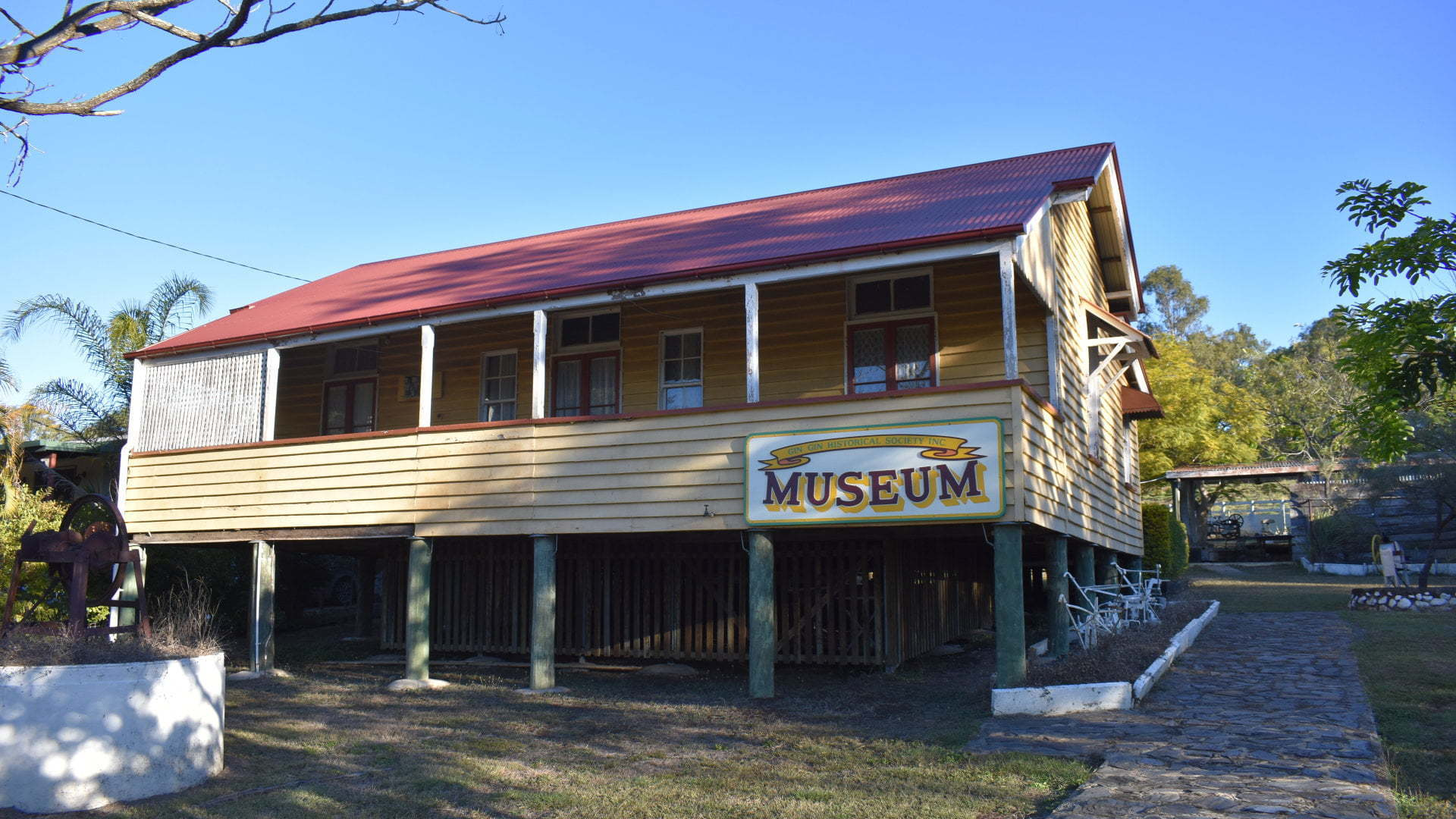 High set building, museum at the Gin Gin Historical Village