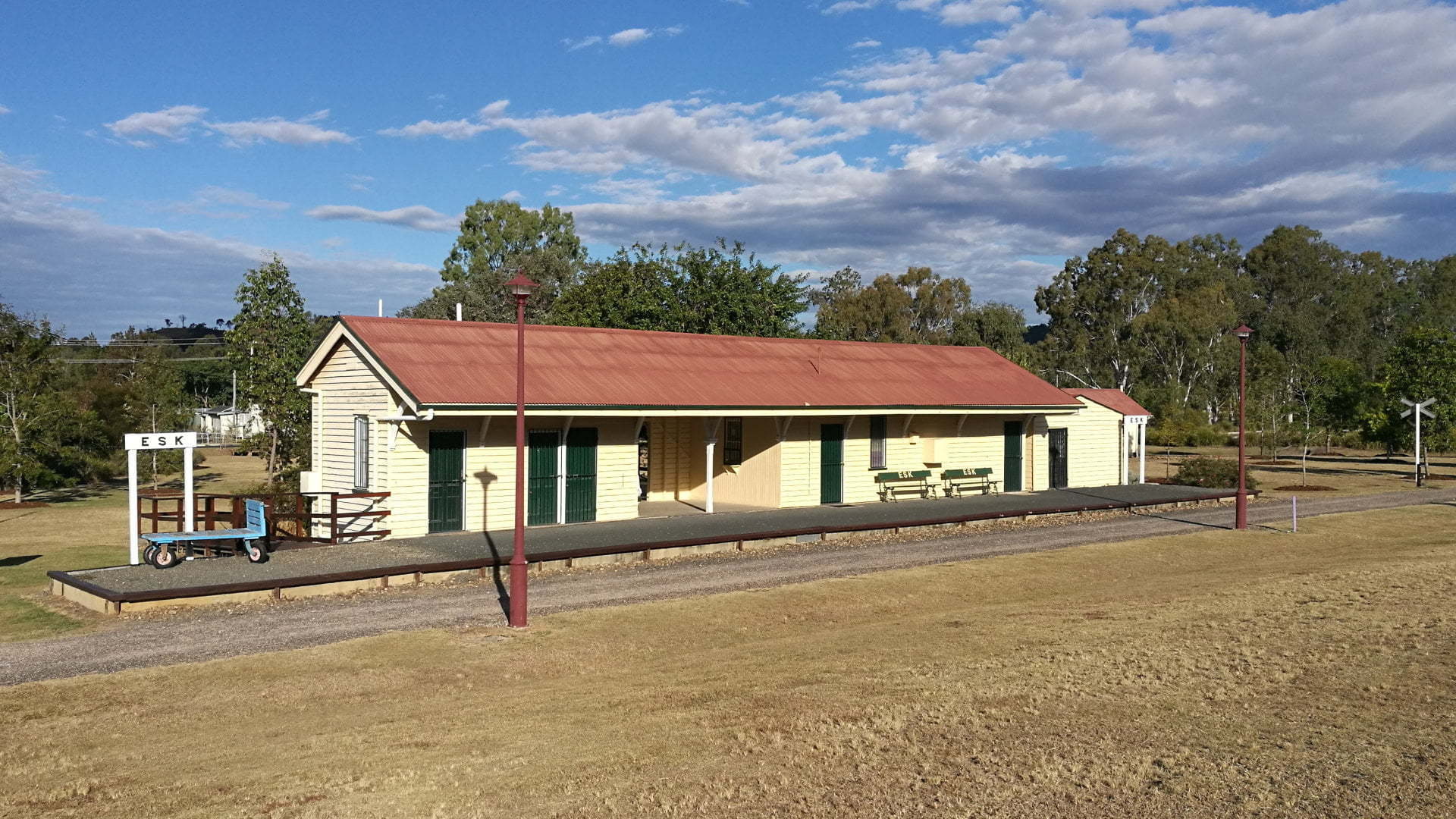 The old Esk railway station on the Brisbane Valley Rail Trail. The trail from Esk leads to Lowood to the south, and to Toogoolawah to the north