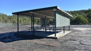 Shelter in the middle of the Mount Perry Smelter Site slag heap