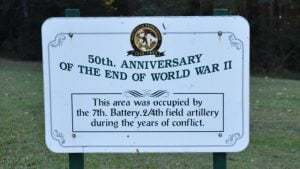 Memorial sign for the 50th Anniversary of WWII. Cilento Park in Nambour was occupied by the 7th Battery 2/4th field artillery during the years of conflict