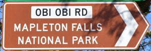 Brown sign for Mapleton Falls National Park, Obi Obi Rd