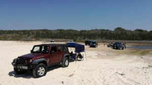 4wd on sand with shelter, at forth lagoon or Welsby Lagoon at Bribie Island
