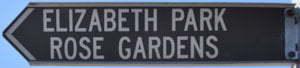 Brown sign for Elizabeth Park Rose Gardens