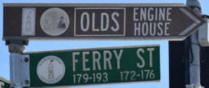 Brown sign for OLDS Engine House, green sign for Ferry St